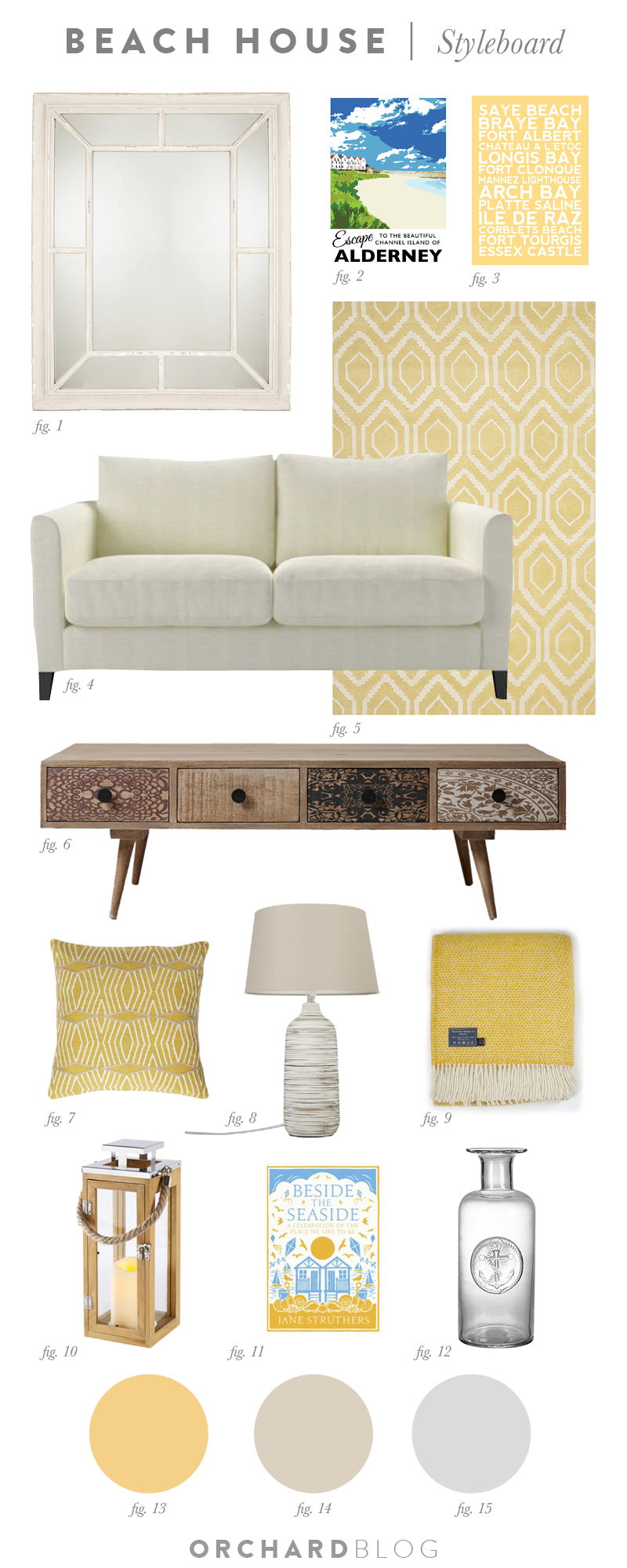 Living room scheme with a beach theme