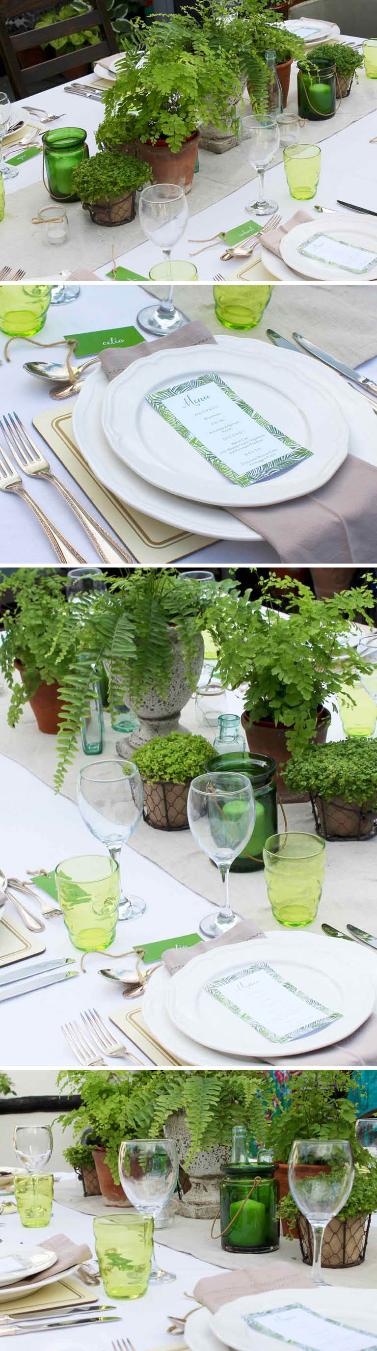 Botanical table theme with ferns